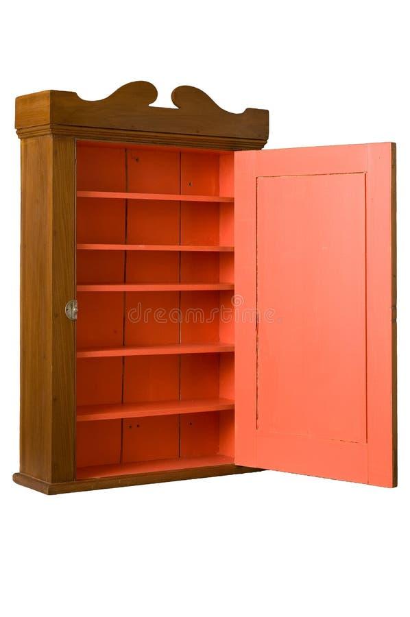 Gabinete de madeira antigo - 3/4 de direita - estar aberto fotografia de stock