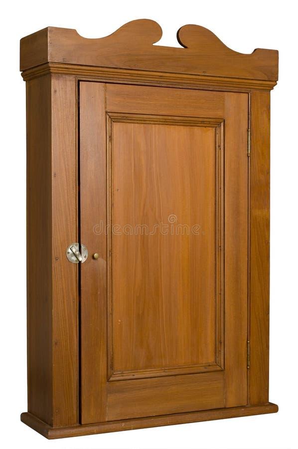 Gabinete de madeira antigo - 3/4 de vista direita fotografia de stock royalty free