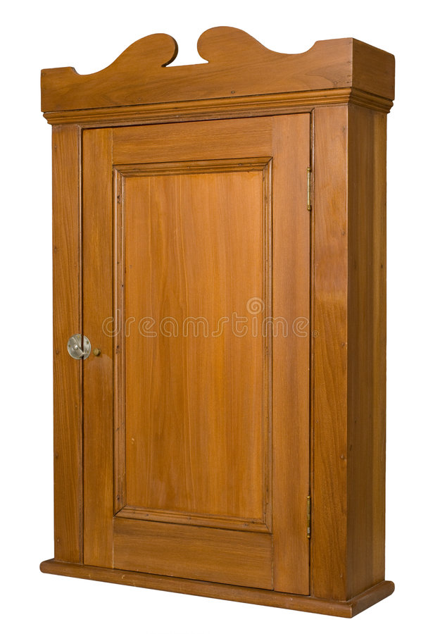 Gabinete de madeira antigo - 3/4 de vista esquerda imagem de stock royalty free