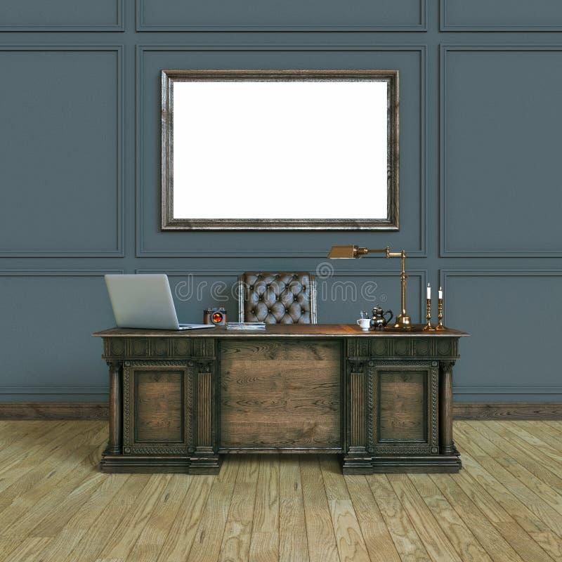 Gabinete de madera clásico de lujo de la oficina con mofa encima del cartel top VI ilustración del vector