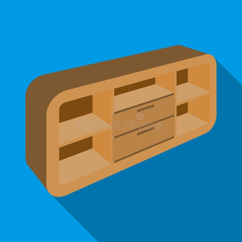 Gabinete de madera con los armarios y los armarios Soporte de la TV Icono de los muebles del dormitorio solo en la acción plana d libre illustration