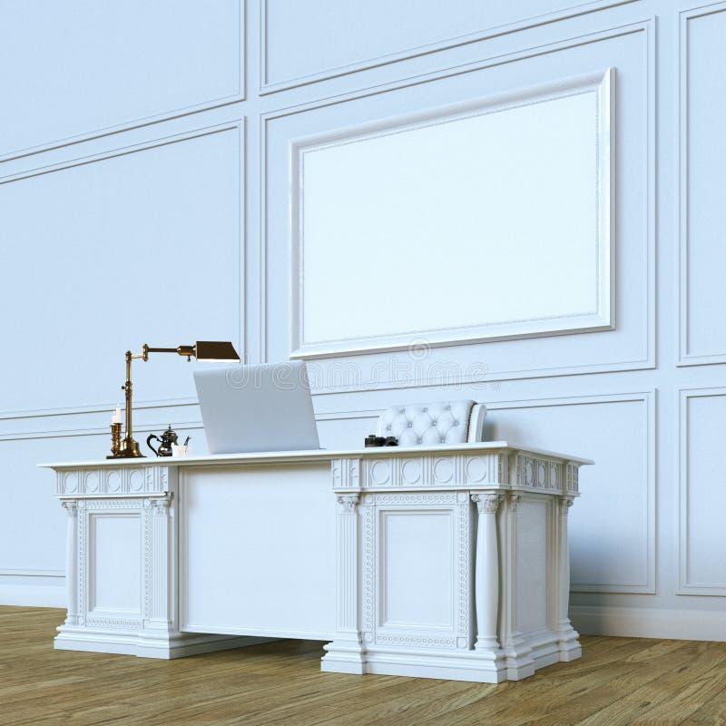 Gabinete de madera de lujo blanco de la oficina con mofa encima de la lona Perspect ilustración del vector