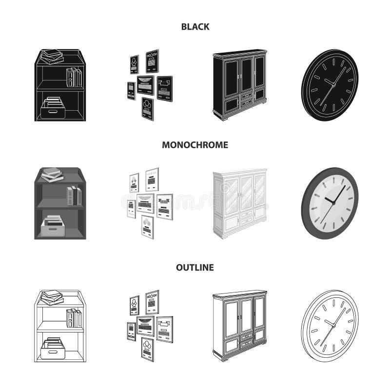 Gabinete, dejando de lado con los libros y los documentos, marcos en la pared, relojes redondos Iconos determinados de la colecci ilustración del vector
