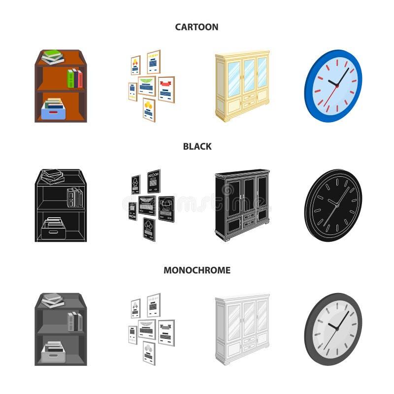 Gabinete, dejando de lado con los libros y los documentos, marcos en la pared, relojes redondos Iconos determinados de la colecci libre illustration