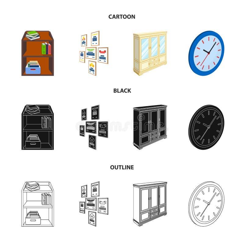 Gabinete, dejando de lado con los libros y los documentos, marcos en la pared, relojes redondos Iconos determinados de la colecci stock de ilustración