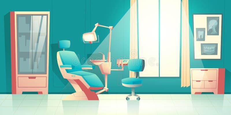 Gabinete del vector del dentista, interior de Cartoon del orthodontist stock de ilustración