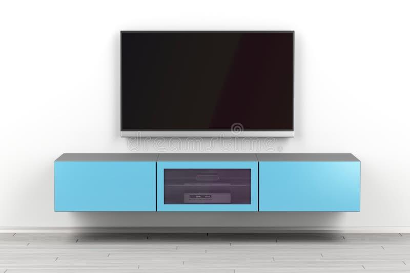 Gabinete montado en la pared de la TV y TV grande libre illustration