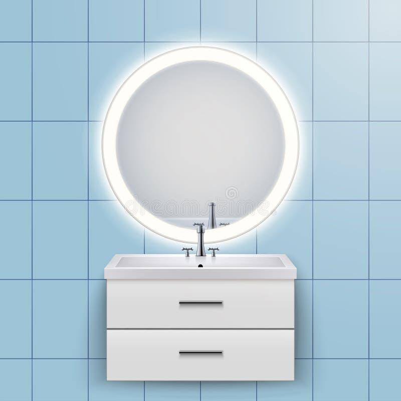 Gabinete nacional del lavabo con el espejo ilustración del vector