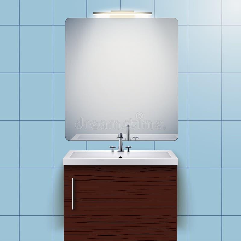 Gabinete nacional del lavabo con el espejo stock de ilustración