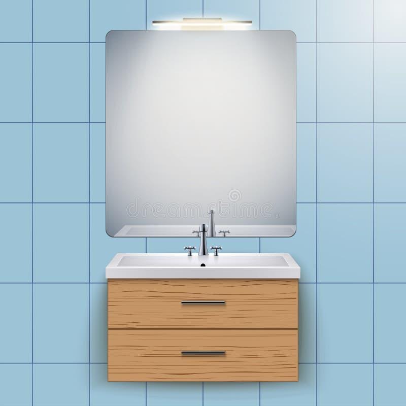 Gabinete nacional del lavabo con el espejo libre illustration