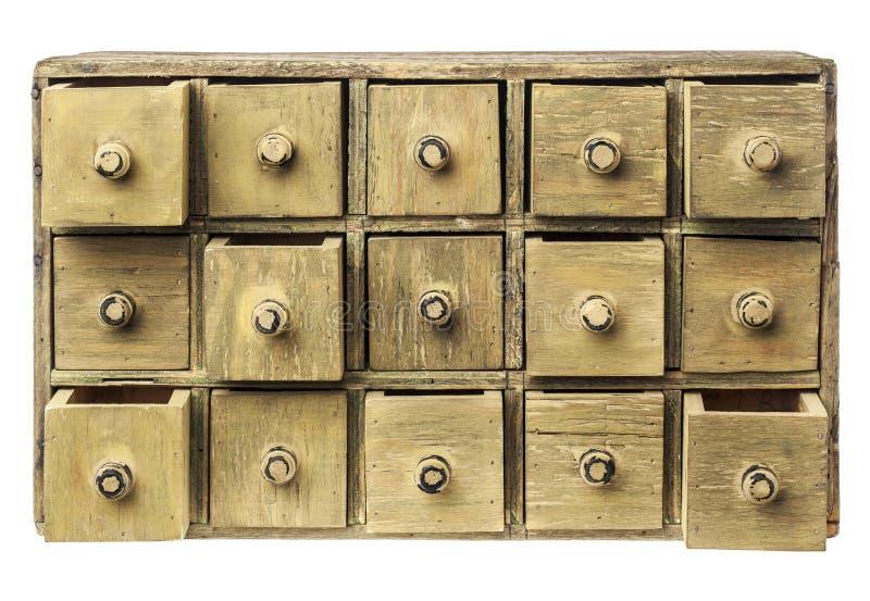 Gabinete primitivo da gaveta foto de stock