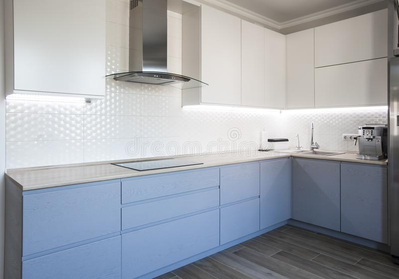 Gabinetes azules y blancos en interior moderno de la cocina fotografía de archivo libre de regalías