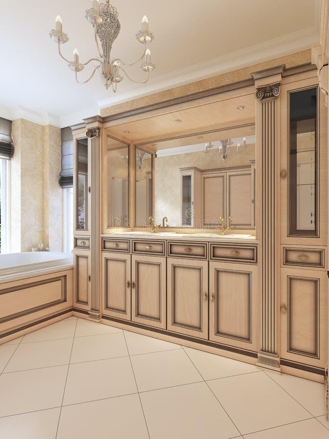 Gabinetes del baño del fregadero de los muebles y mesitas de noche y lig incorporado ilustración del vector