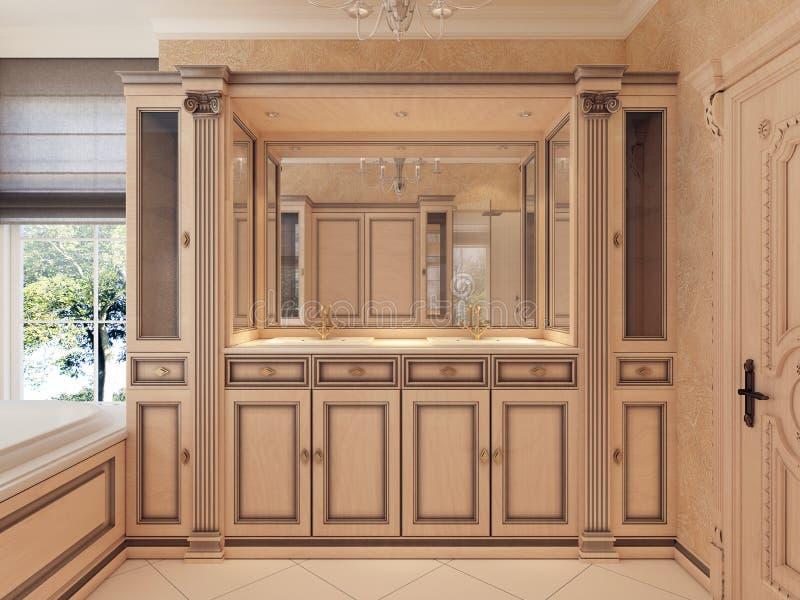 Gabinetes del baño del fregadero de los muebles y mesitas de noche y lig incorporado stock de ilustración