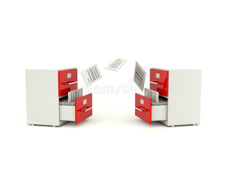 Gabinetes do arquivo que trocam arquivos ilustração do vetor