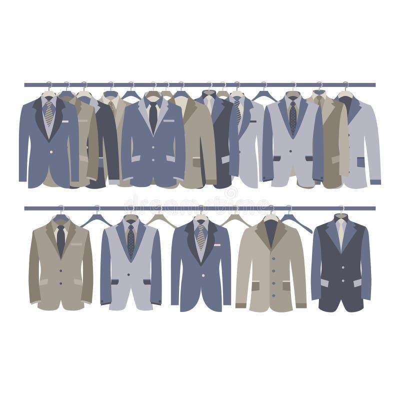 Gabinetto del vestito degli uomini che appende sullo scaffale illustrazione vettoriale