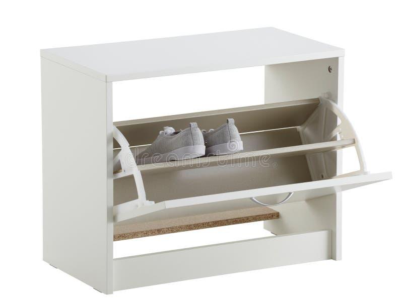Gabinetto della scarpa isolato su bianco immagini stock libere da diritti