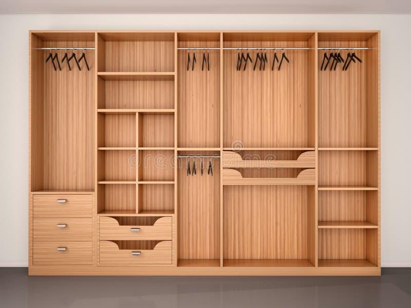 Gabinetto di legno vuoto del guardaroba royalty illustrazione gratis
