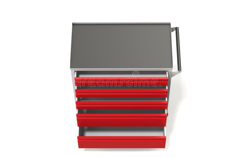 Gabinetto di strumento del metallo sulle ruote con i cassetti Un posto conveniente FO illustrazione vettoriale