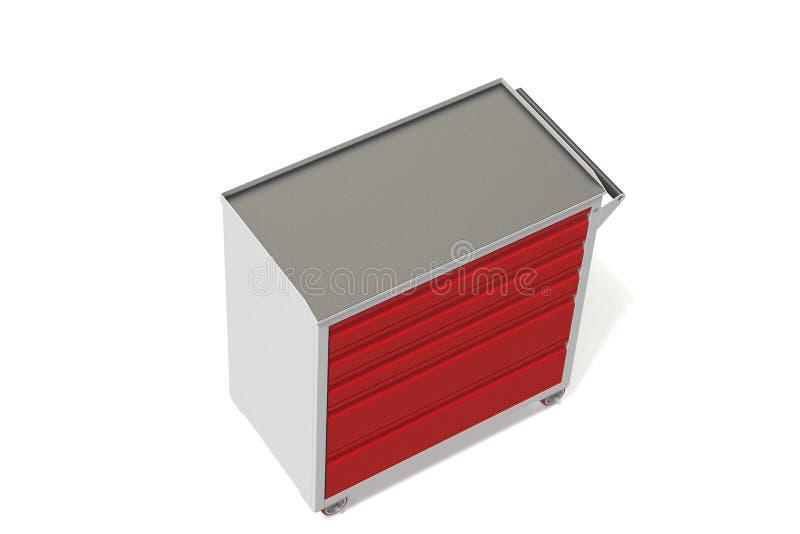 Gabinetto di strumento del metallo sulle ruote con i cassetti Un posto conveniente per la conservazione gli strumenti e dei pezzi illustrazione vettoriale