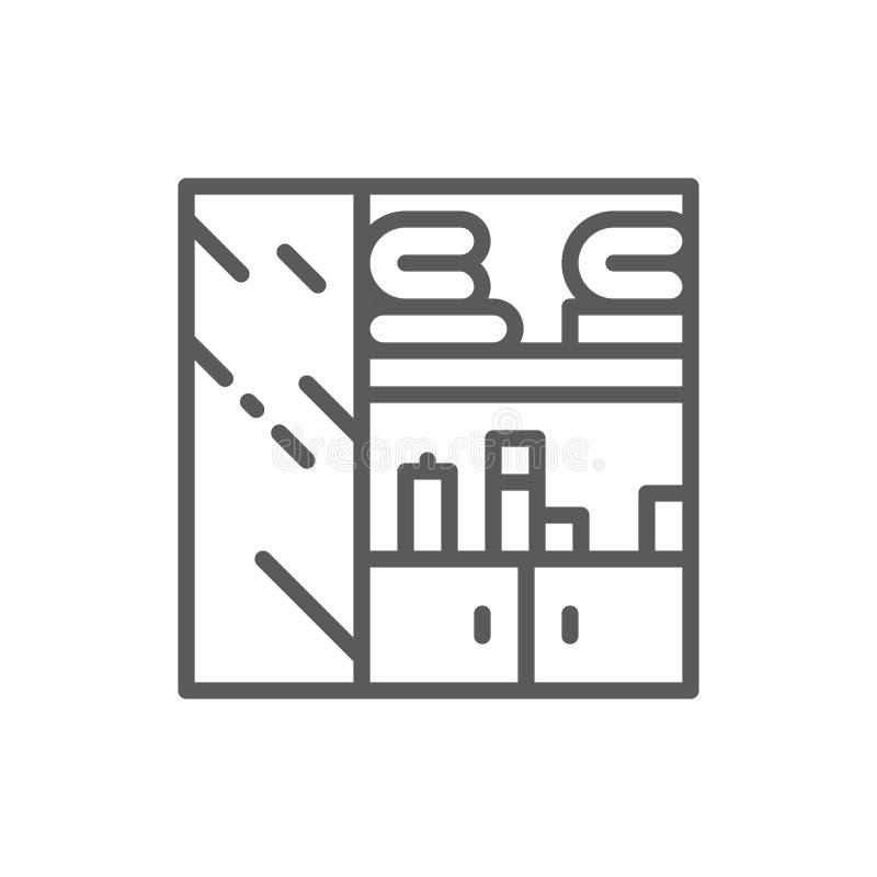Gabinetto di vestiti, linea icona del guardaroba royalty illustrazione gratis