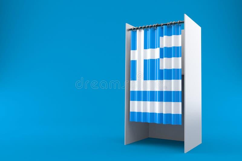 Gabinetto di voto con la bandiera della Grecia illustrazione vettoriale