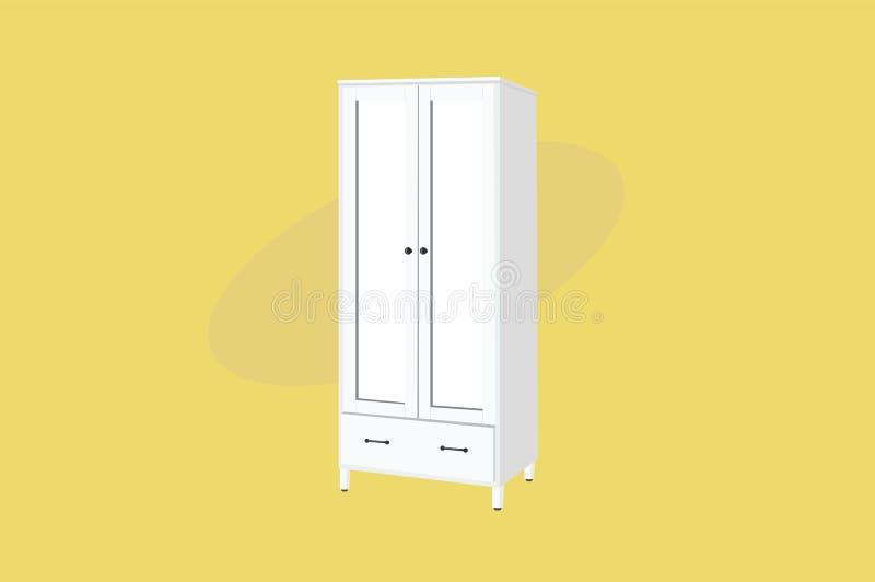 Gabinetto o guardaroba Mobilia di legno bianca Illustrazione di vettore, isolata illustrazione vettoriale