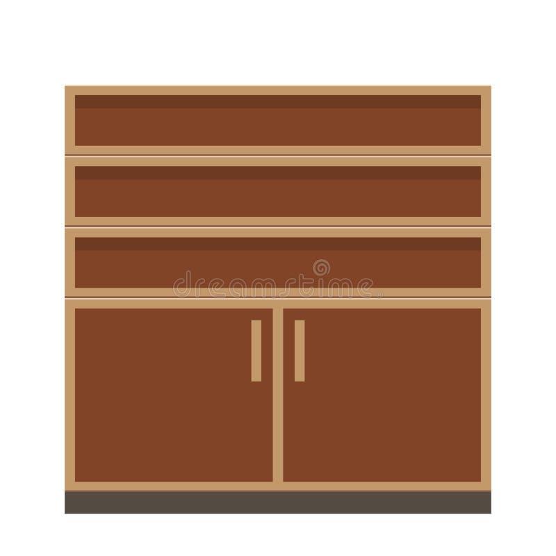 Gabinetto o guardaroba vuoto della mobilia nel colore marrone Illustrazione piana di vettore di stile illustrazione vettoriale
