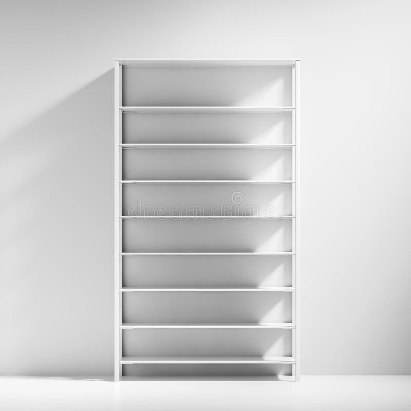 Gabinetto vuoto bianco degli scaffali nella stanza bianca illustrazione vettoriale