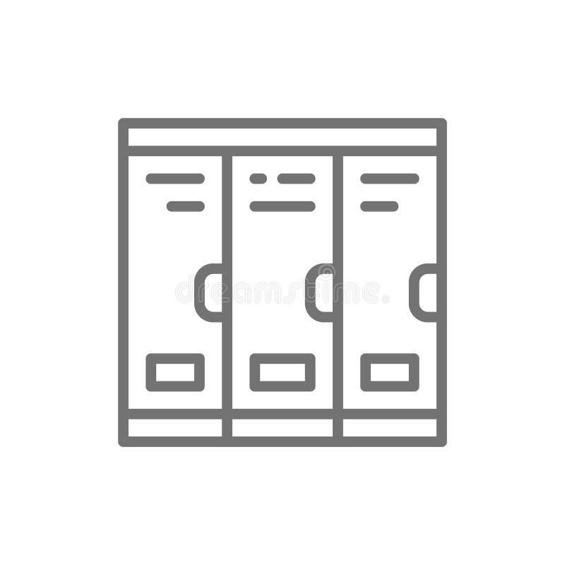 Gabinety, szkolne szafki, szatni kreskowa ikona ilustracji