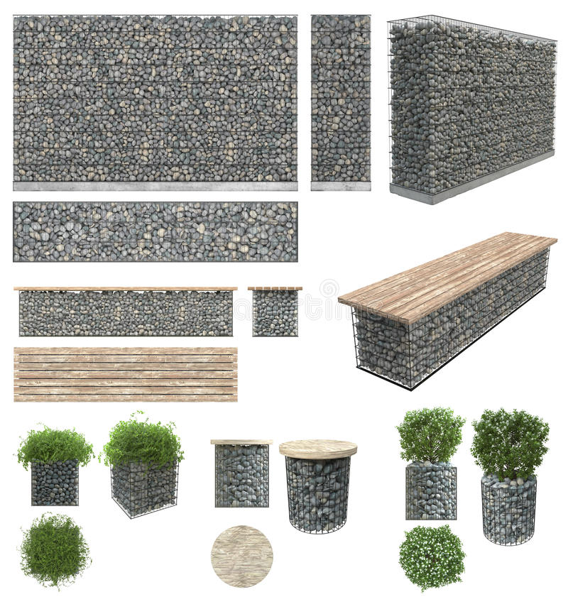 Gabion - stones in wire mesh. Wall, bench, flower pots with plants of the rocks and metal grates. Isolated on white background. Fr. Ont view, side view, top view stock photography