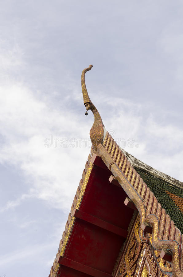 Gable apex on the Buddhist temple stock photography