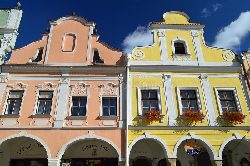 Gable Details 3 in colourful Telc the main square Czech republic. Telč is a town in southern Moravia, in the Czech Republic. The most significant sight is the stock images