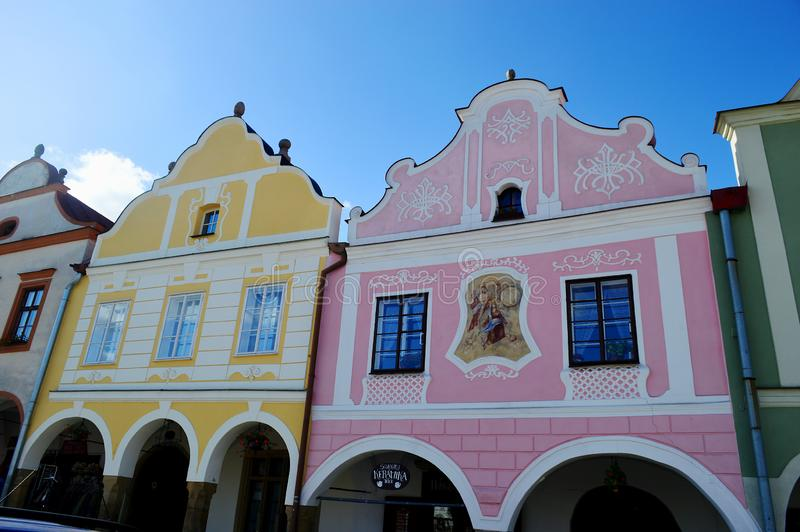 Gable Details 4 in colourful Telc the main square Czech republic. Telč is a town in southern Moravia, in the Czech Republic. The most significant sight is the stock image
