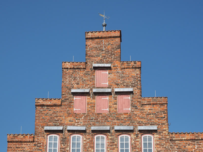 Gable of historical biliwick building in Travemuende, Luebeck. Gable of historical building Vogtei in Travemuende, Luebeck royalty free stock photo