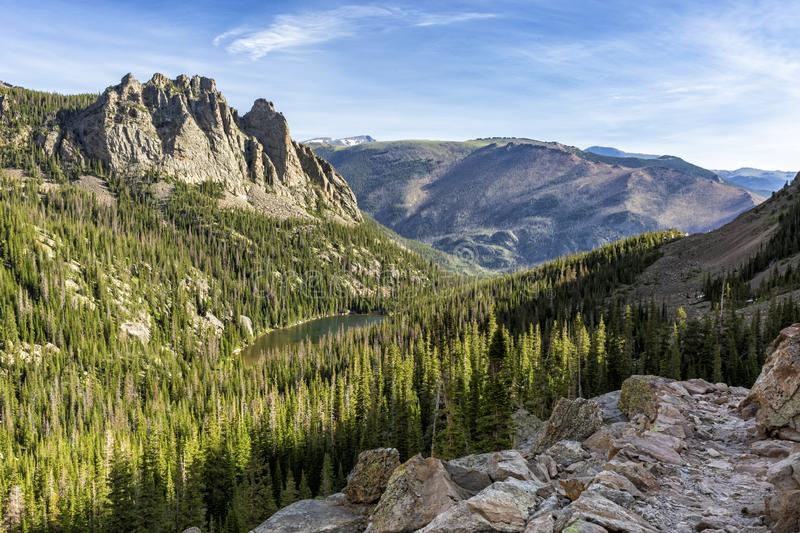 The Gable and Odessa Lake Rocky Trail. Overlooking Odessa Lake and The Gable from the Lake Helene to Odessa trail in Rocky Mountain National Park, Colorado stock photos