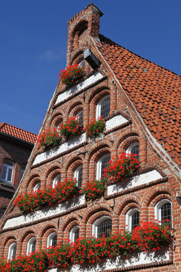 Gable of an old house. In Lueneburg, Germany royalty free stock image