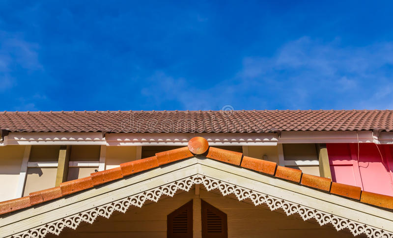 Gable roof of a house stock image