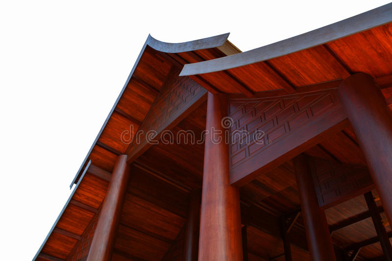Gable and roof. Wood shiny beautiful stock images