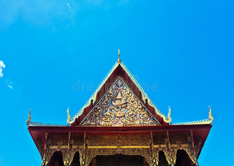 Gabled roof temple and sky in thailand stock photos