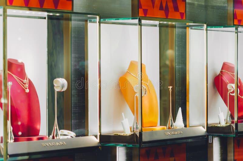 Gablota wystawowa sklep jubilerski w środkowym Moskwa domu towarowym zdjęcie royalty free