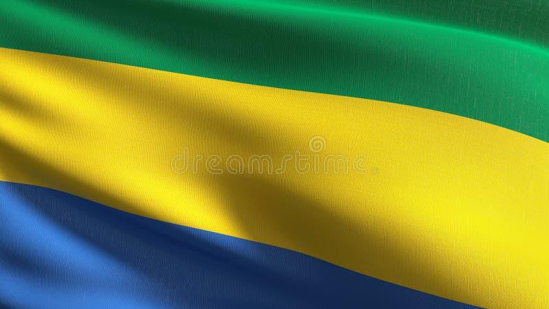 Gabon flagi państowowej dmuchanie w wiatrze odizolowywającym Oficjalny patriotyczny abstrakcjonistyczny projekt 3D renderingu ilu royalty ilustracja