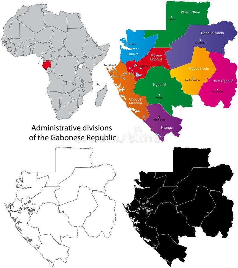 Gabon map stock vector Illustration of boundary district 20883515