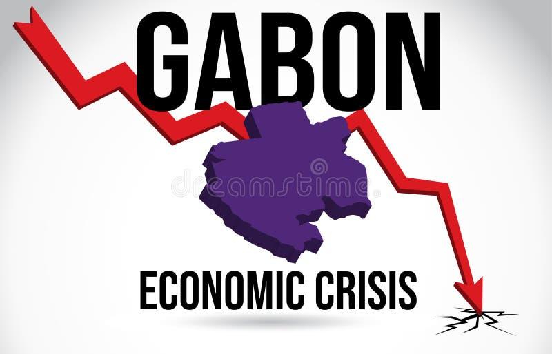 Gabon Map Financial Crisis Economic Collapse Market Crash Global Meltdown Vector. Illustration vector illustration