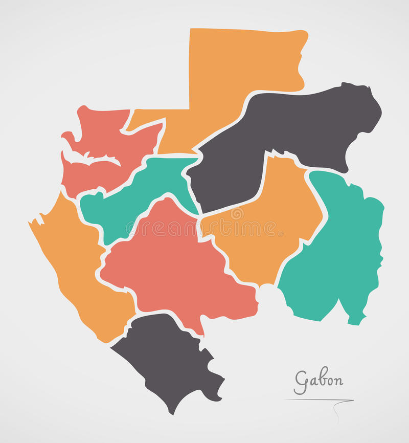 Gabon Map with states and modern round shapes. Illustration royalty free illustration
