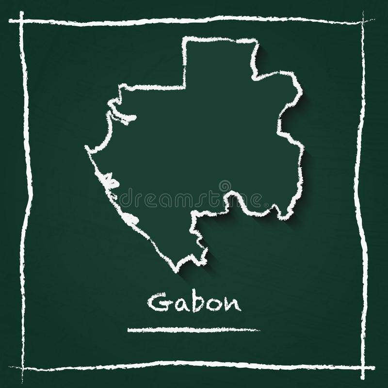 Gabon Outline Vector Map Hand Drawn With Chalk On Stock Vector - Gabon blank map