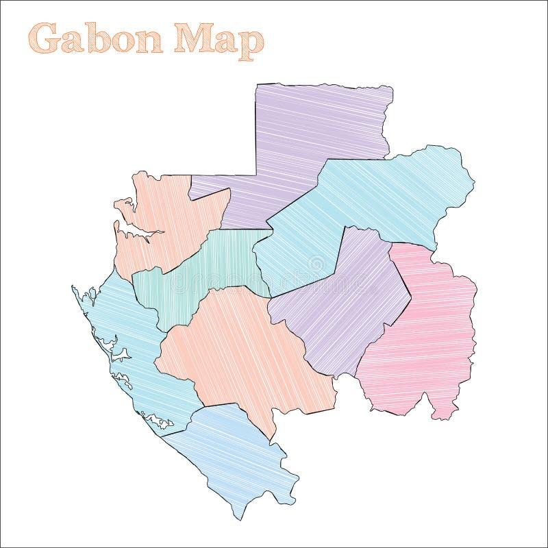 Gabon pociągany ręcznie mapa royalty ilustracja