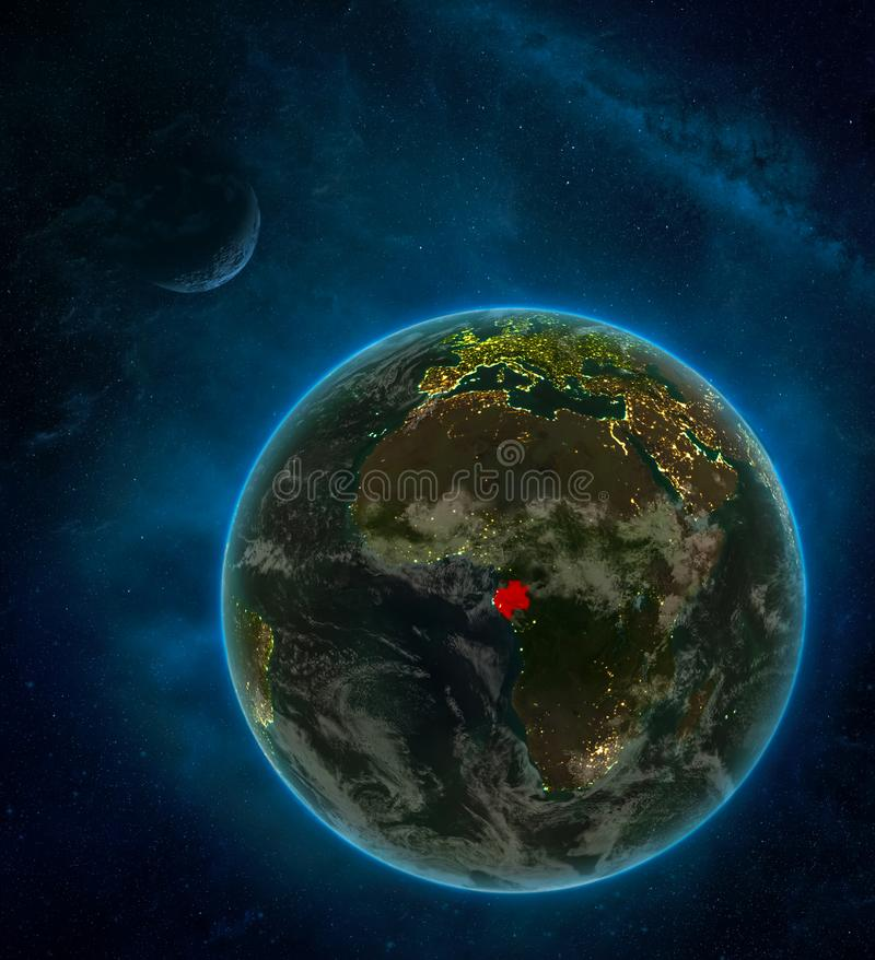 Gabon from space on Earth at night surrounded by space with Moon and Milky Way. Detailed planet with city lights and clouds. 3D. Illustration. Elements of this royalty free illustration