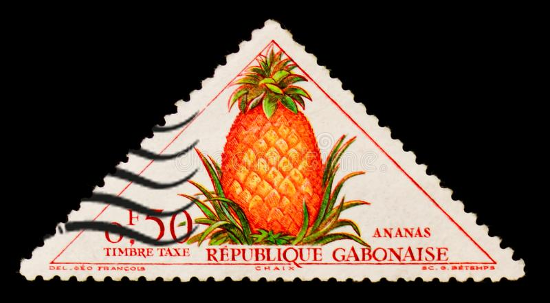 Gabonese Republic postage stamp shows Pineapple Ananas sativus, circa 1962 stock photos