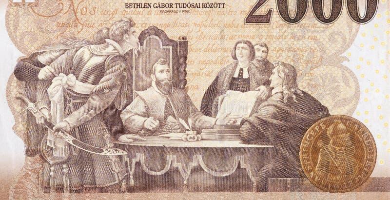 Gabor Bethlen unter seinem Wissenschaftlerbild von Madarasz Viktor zu Ungarisch 2000 Forints 2013 Banknote-Fragment stockfotografie